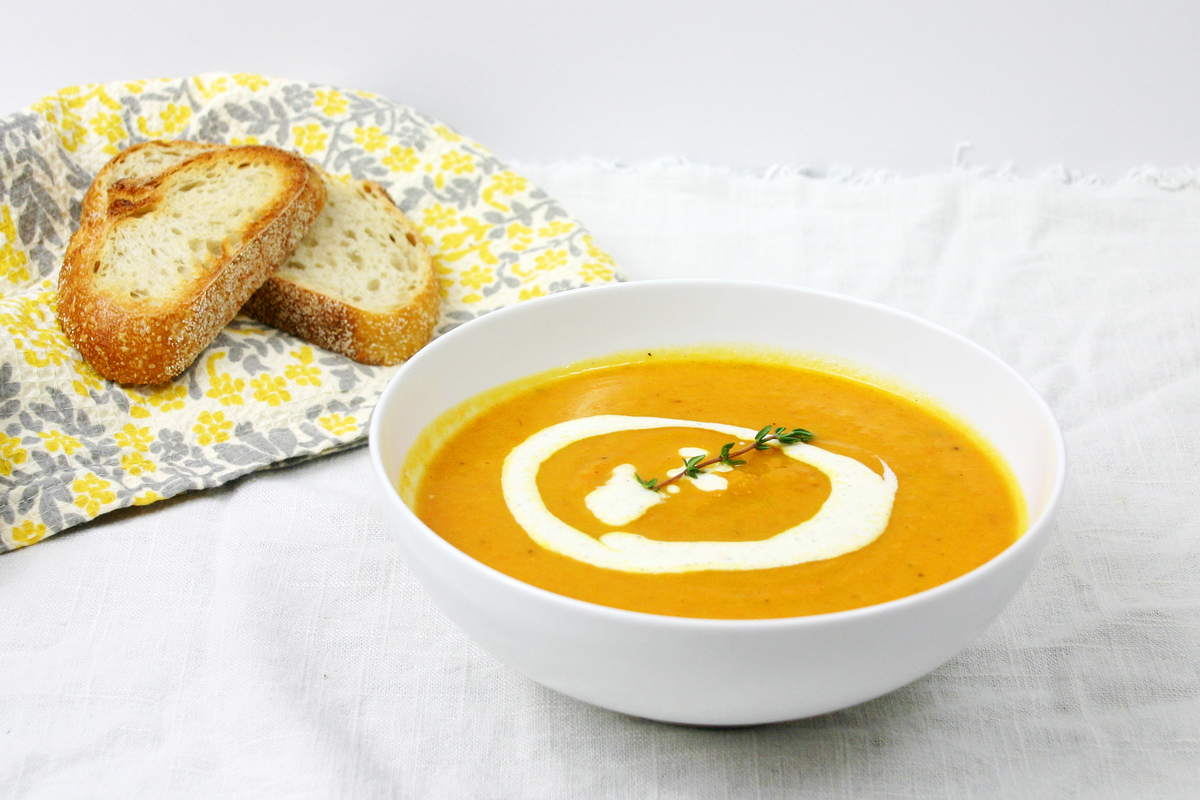 Roasted Carrot &amp; Parsnip Soup with Lemon Ginger Cream