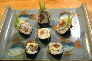 Celery Clan Samurai Rolls filled with Braised Celery, Tobiko and Omelet