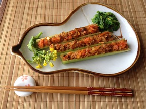 Kimchi-Rice Celery with Nanohana Flowers