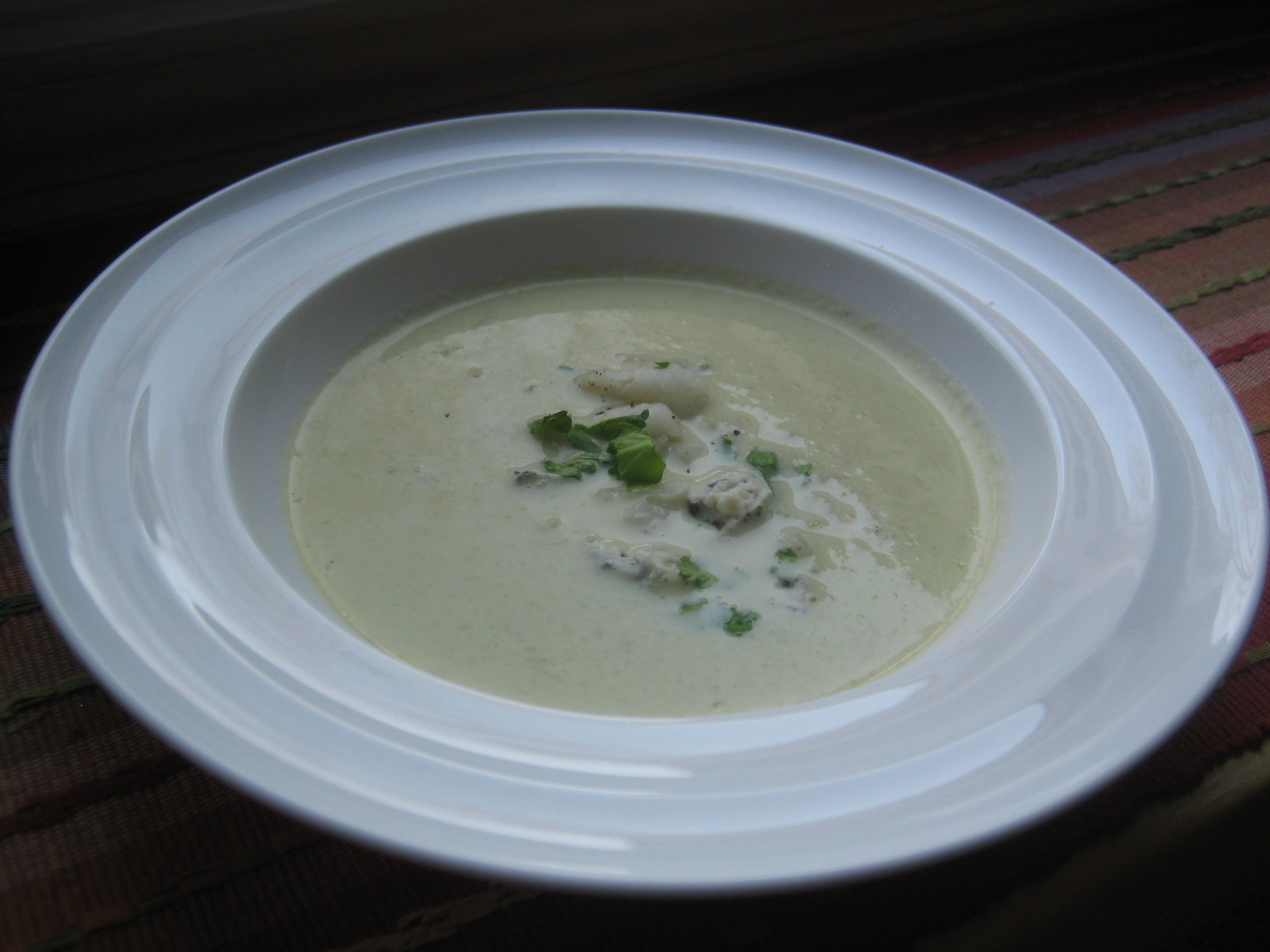 Celery Soup with celery leaf, asian pear and blue cheese relish ...