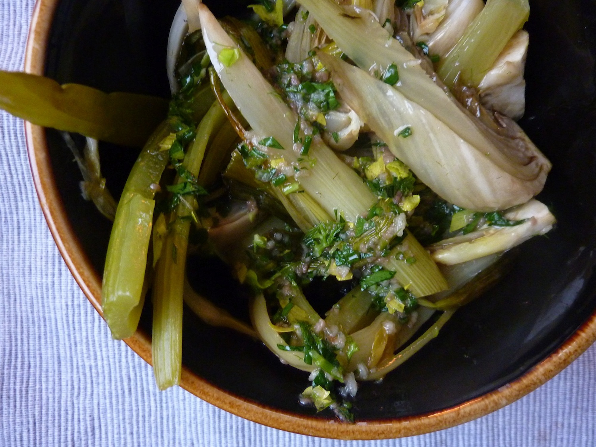 Oven Braised Vegetables With Gutsy Lemon VInaigrette