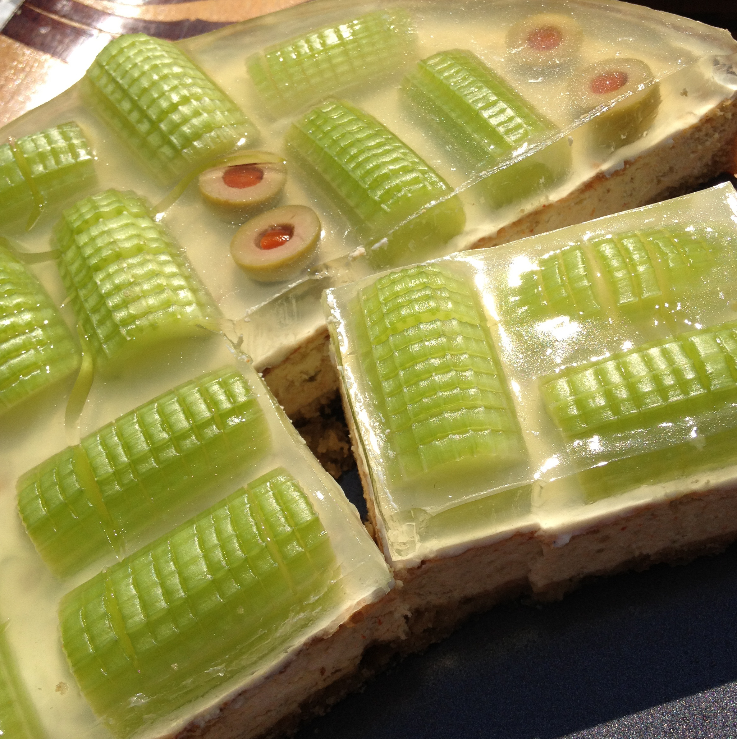 Celery Cheese Pie w/ Lemon Aspic on Thyme Crust