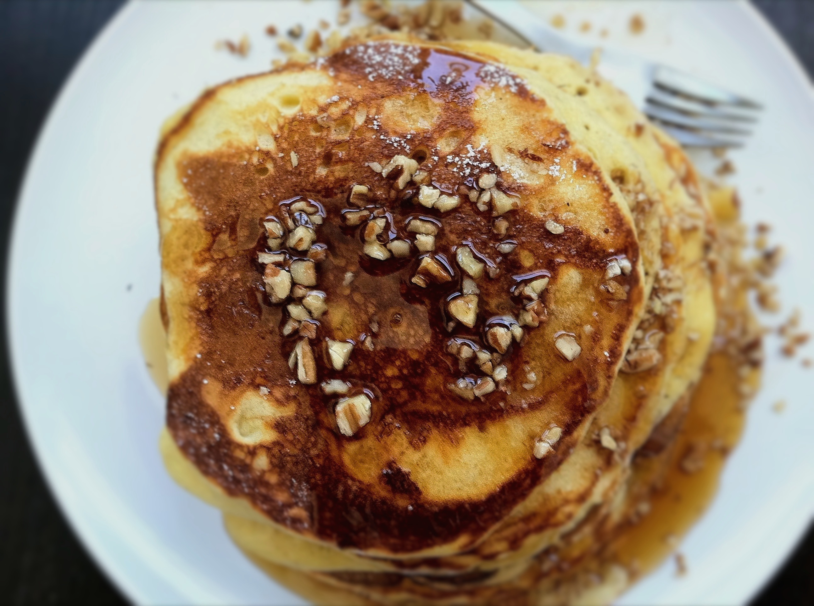 Bourbon-Maple Syrup on Egg Nog Pancakes Recipe on Food52