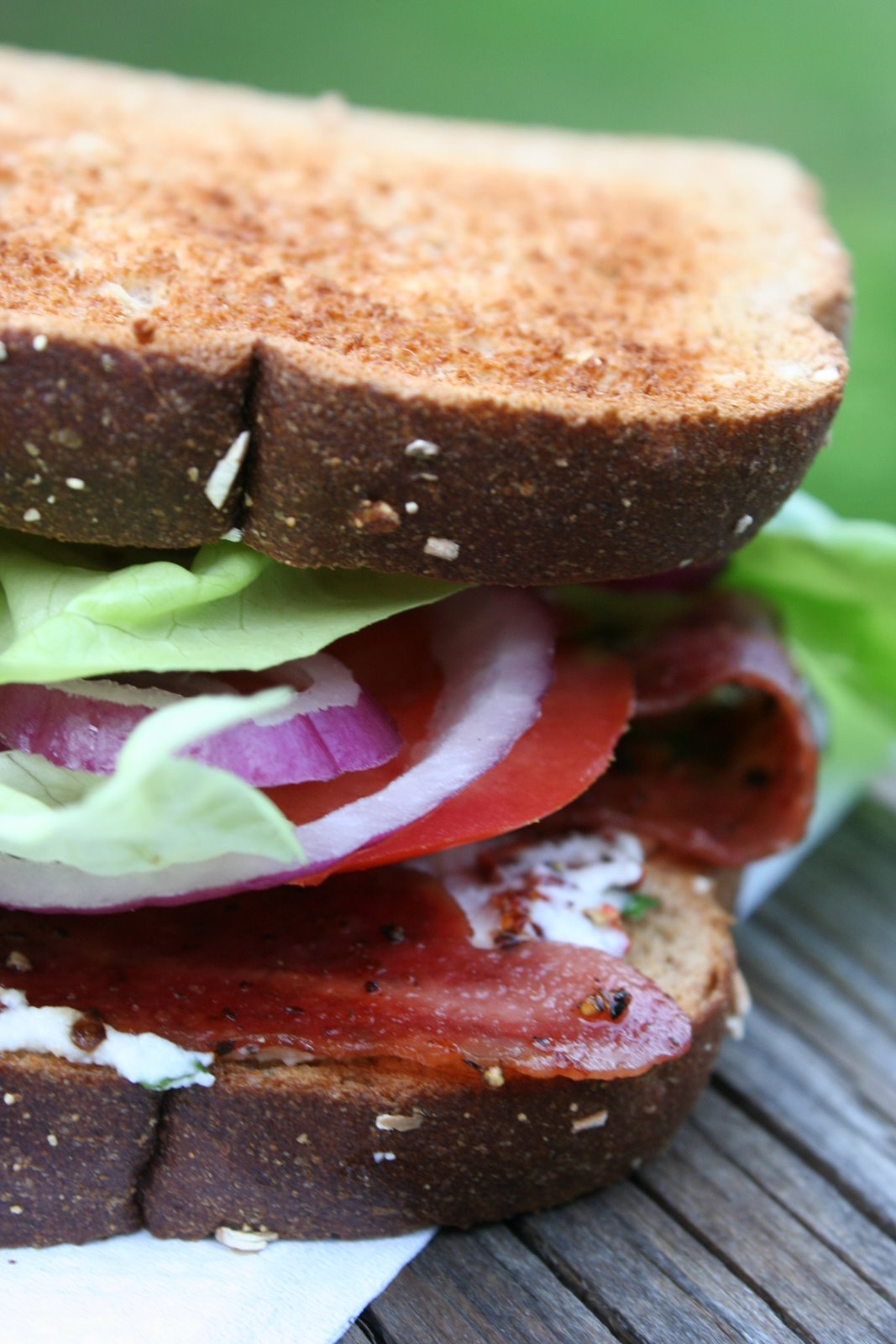 Maple Lacquered Bacon, Lettuce, and Tomato Sandwich