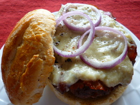 Maple Bleu Cheese Burger with Crispy Prosciutto &amp; Red Onion