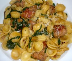 Orecchiette with Italian Sausage, Swiss Chard and a Maple Glaze
