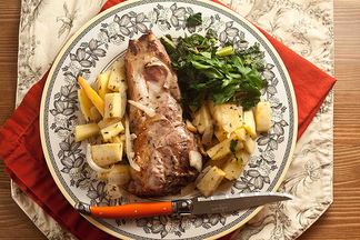 Roasted Pork Chops with Parsnip and Apples