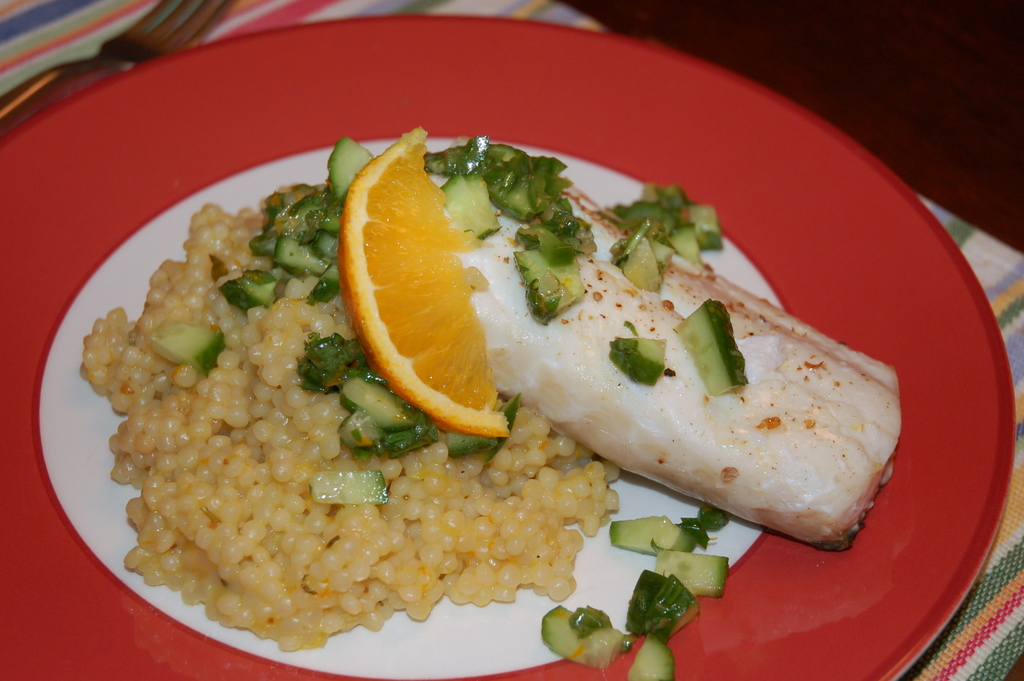 "Halibut with Herb-Citrus Salsa and Israeli Couscous ""Risotto"""