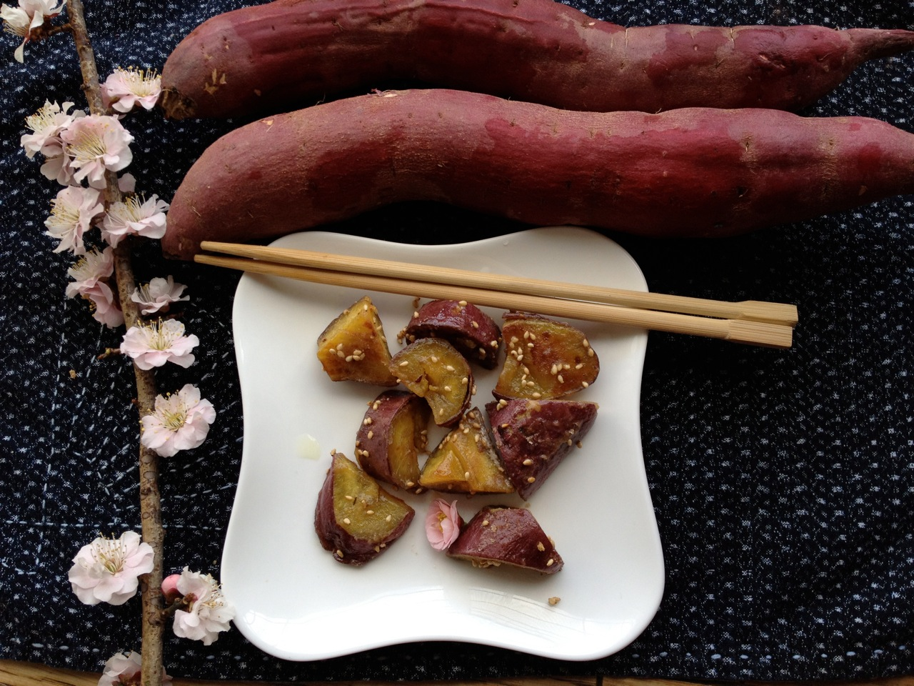 Maple-Glazed Sweet Potatoes (Japanese Daigaku Imo Style) w/ Vegan option