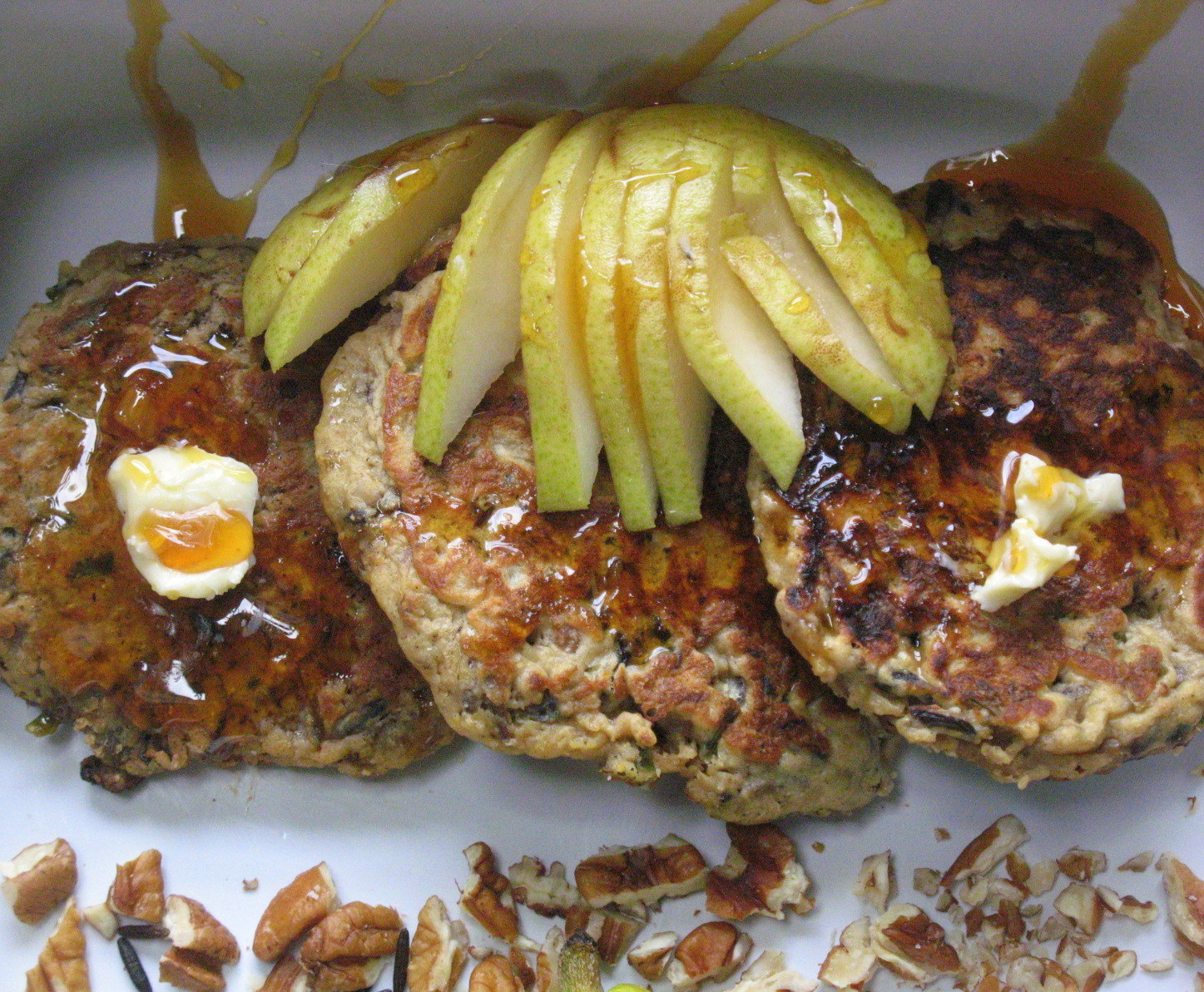 Pear and Wild Rice Pancakes with Whipped Maple Butter