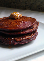 Oatmeal Purple Sweet Potato Pancakes with Blueberries