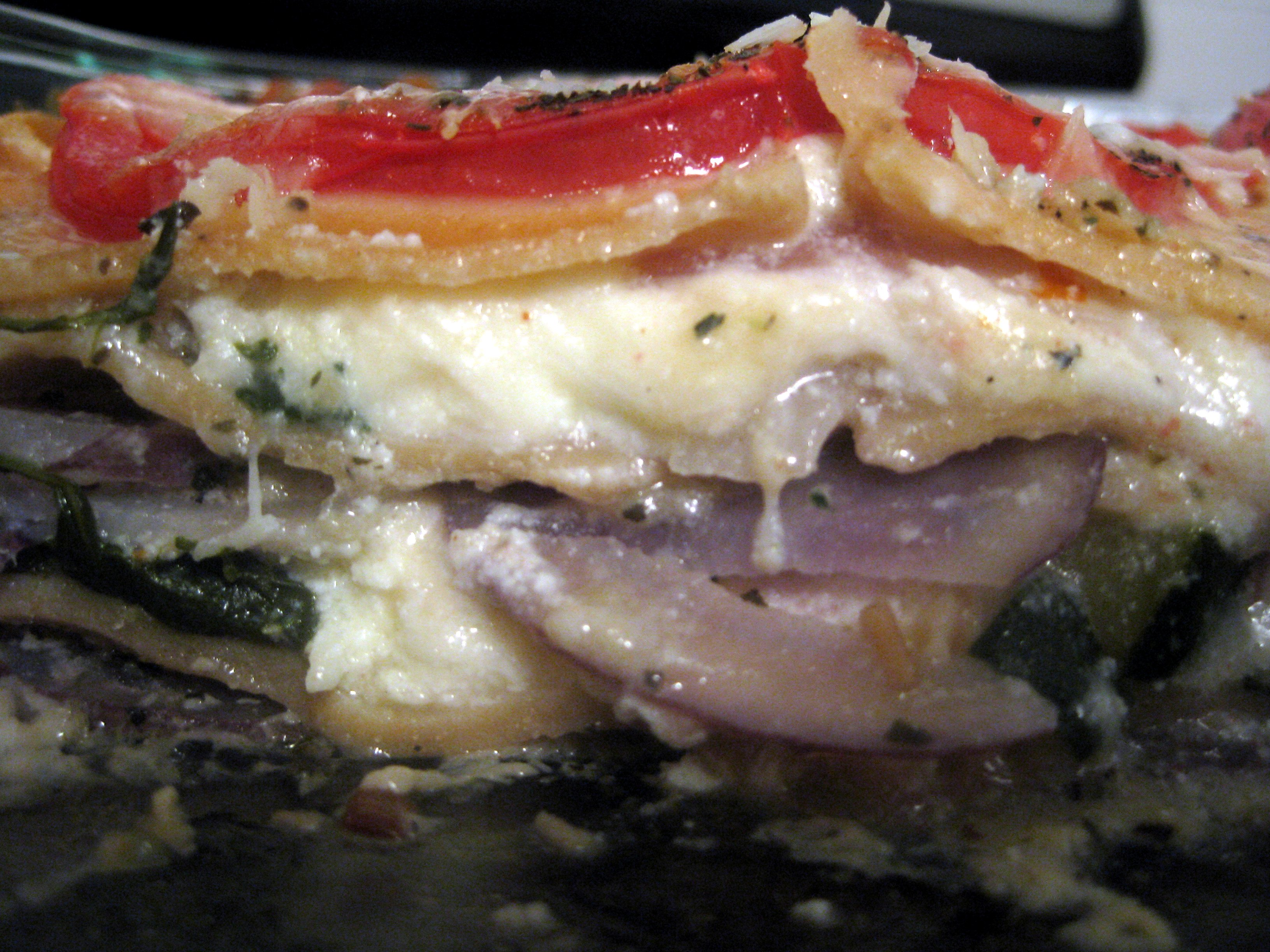 Vegetarian Lasagna with Spinach, Zucchini and Potatoes