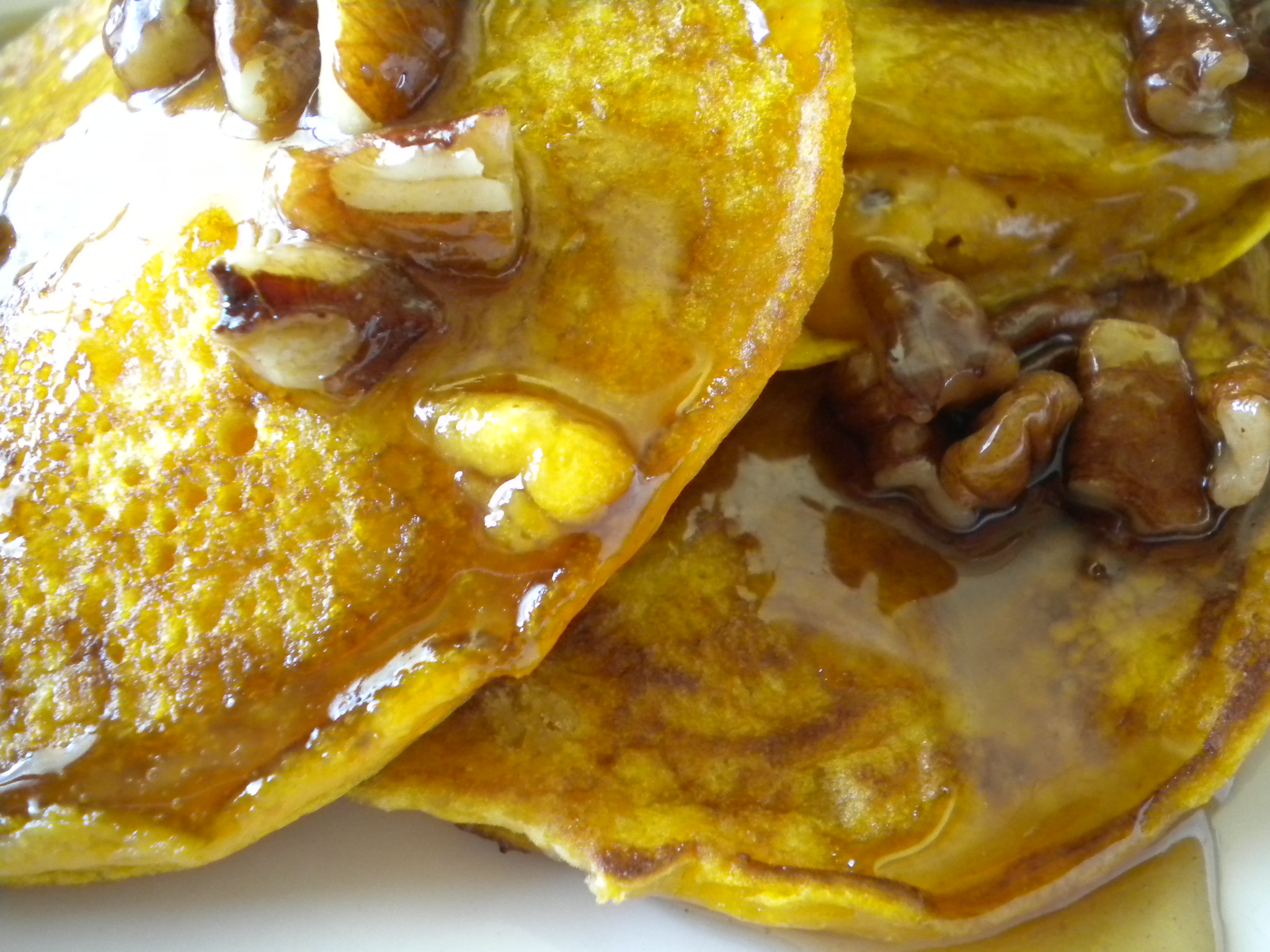 Maple Carrot Pancakes with Butter Pecan Syrup