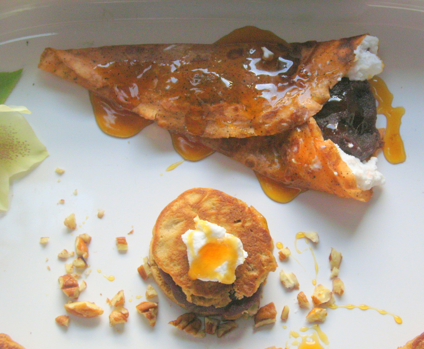 Cardamom Thai Tea Crepes filled with Azuki Cream, Coconut and Pecans