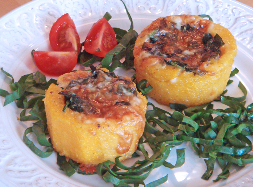Polenta baskets with sautéed spinach and Taleggio cheese recipe on ...