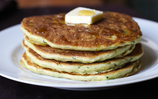 Lemon Zucchini Pancakes with a Heart of Brie