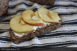 Grilled Goat Cheese with Apple on Cranberry Pecan Bread