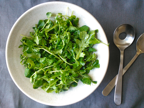 Pea Shoot and Baby Arugula Salad