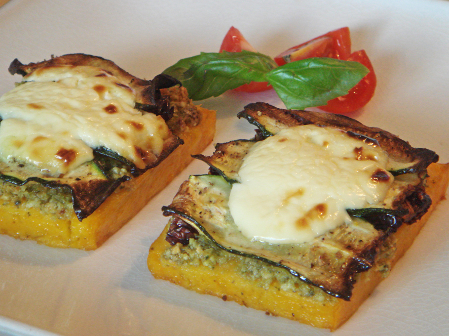 Grilled Polenta with Almond Pesto, Dried Tomatoes and Zucchini Recipe ...
