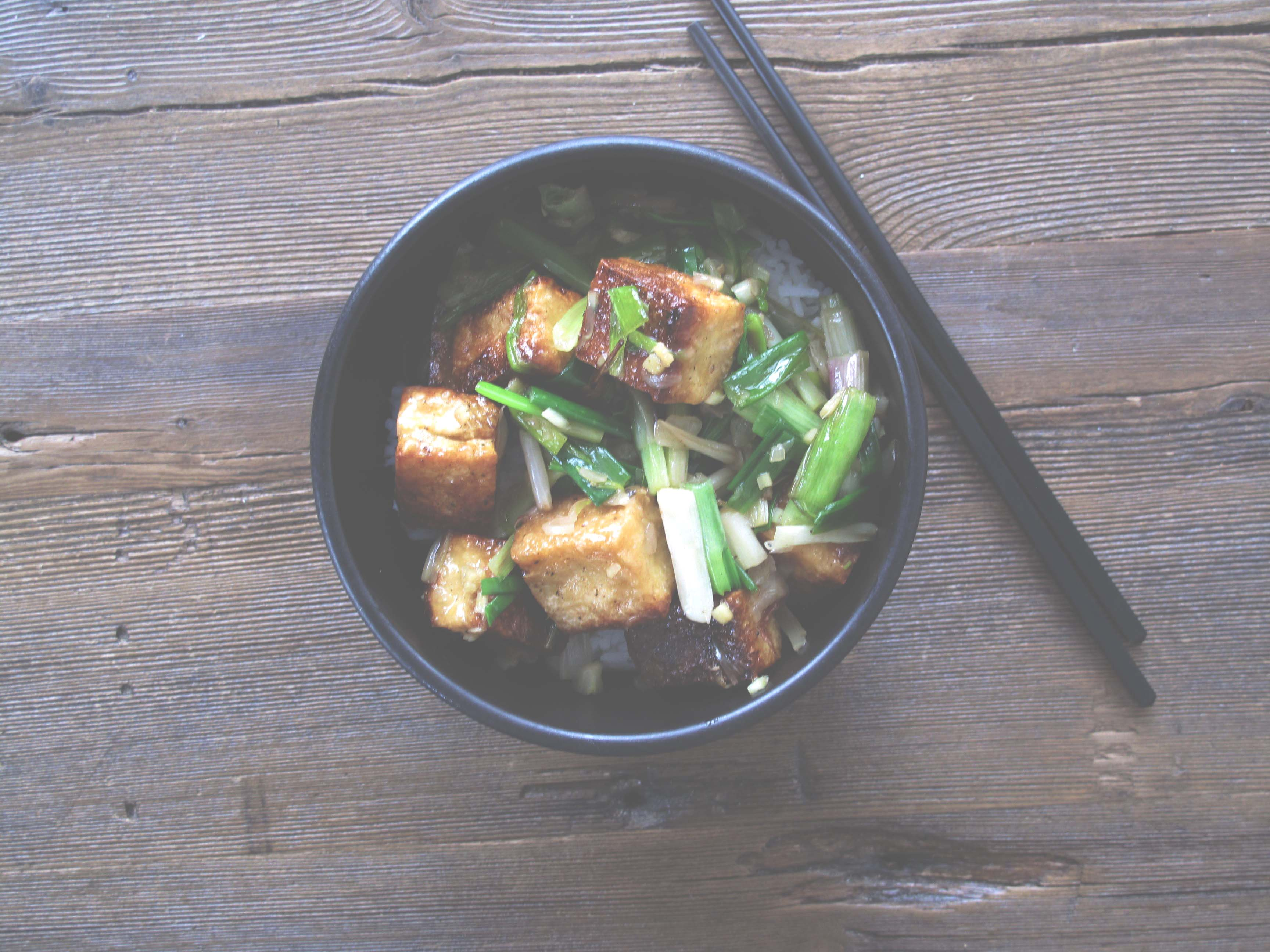 TOFU WITH GREEN GARLIC, GREEN ONIONS + WHITE SHOYU