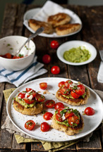 Lemon-Scallion White Bean Patties with Asparagus Pesto &amp; Simple Salsa