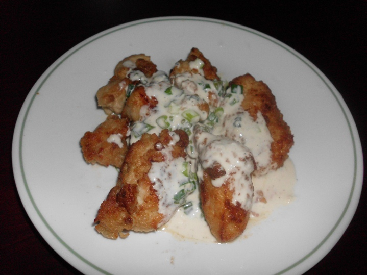 Oriental Fried Chicken with Scallion Cream Sauce