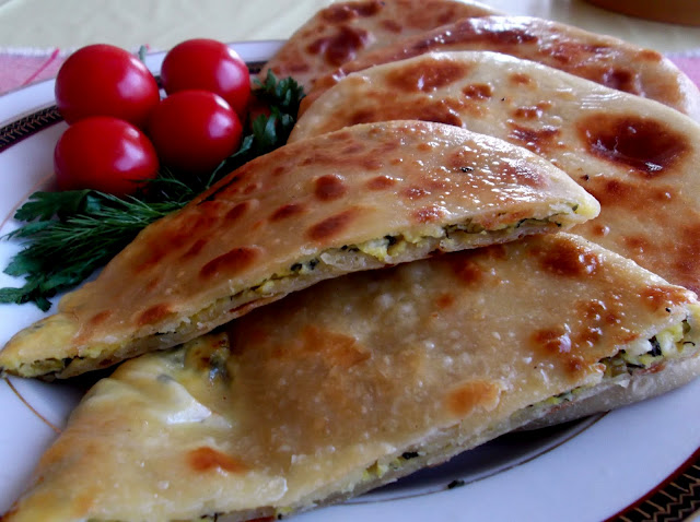 Georgian Khachapuri Filled with Ramp, Green Onions, Herbs and Cheese