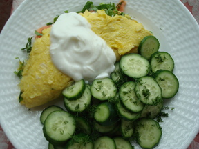 Omelet with ramps, smoked salmon, and goat milk yogurt