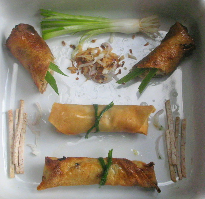 Jade Chicken Spring Rolls with Alliums, Lemongrass, Ginger and Coconut
