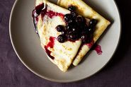 Crepes with Lemon Curd &amp; Blueberry Compote