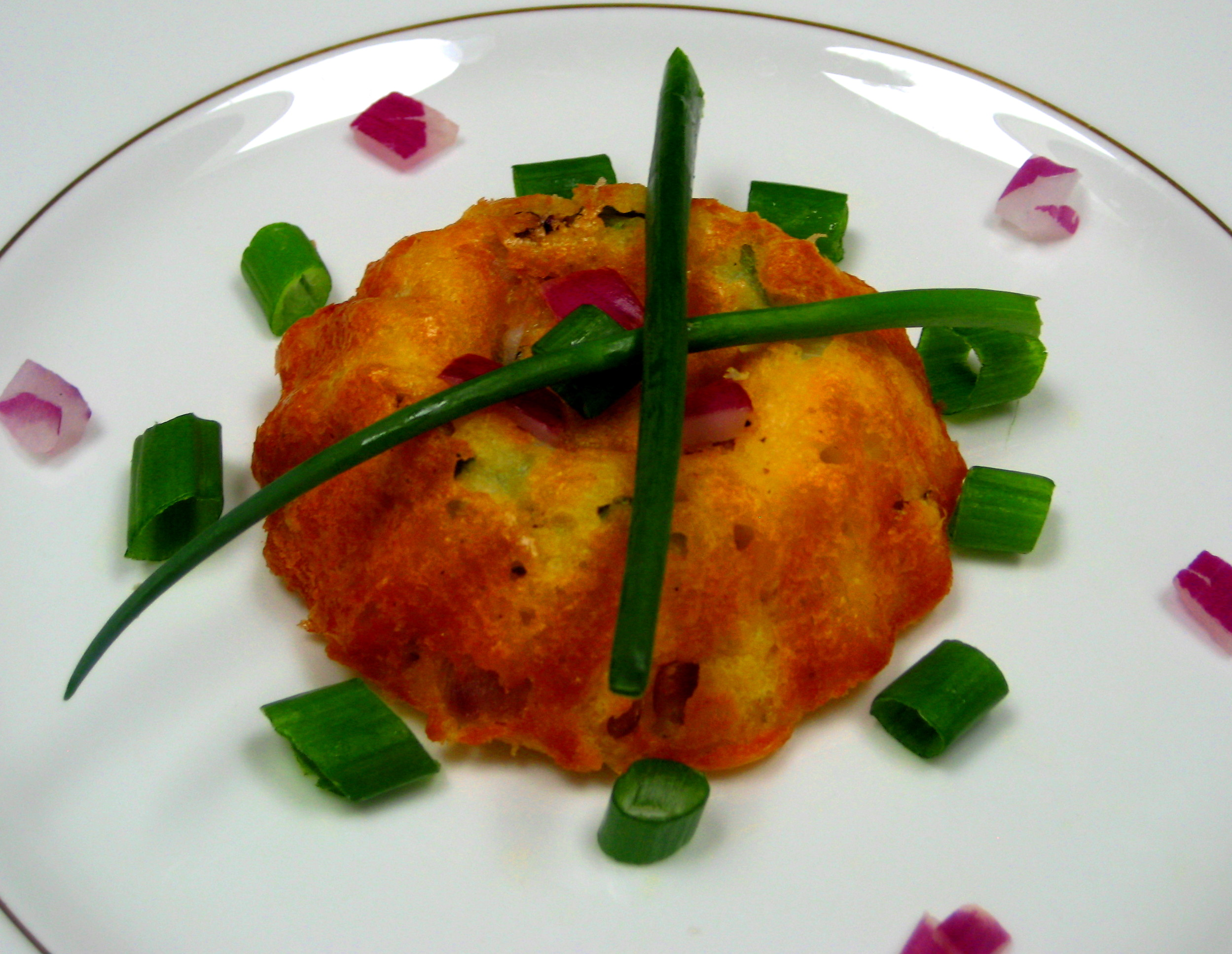 Scallion, Red Onion Mini Souffles in Red Pepper, Buttermilk Crepes