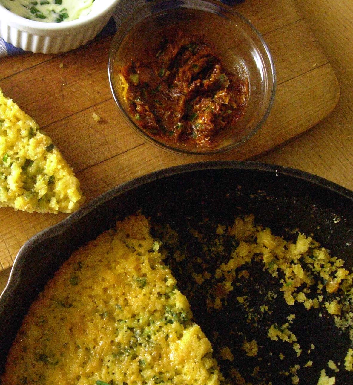 Green Onion Garlic Chive Cornbread with Green Onion Ancho Chile Butter