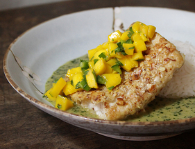 Almond Crusted Mahi Mahi with Coconut Basil Sauce