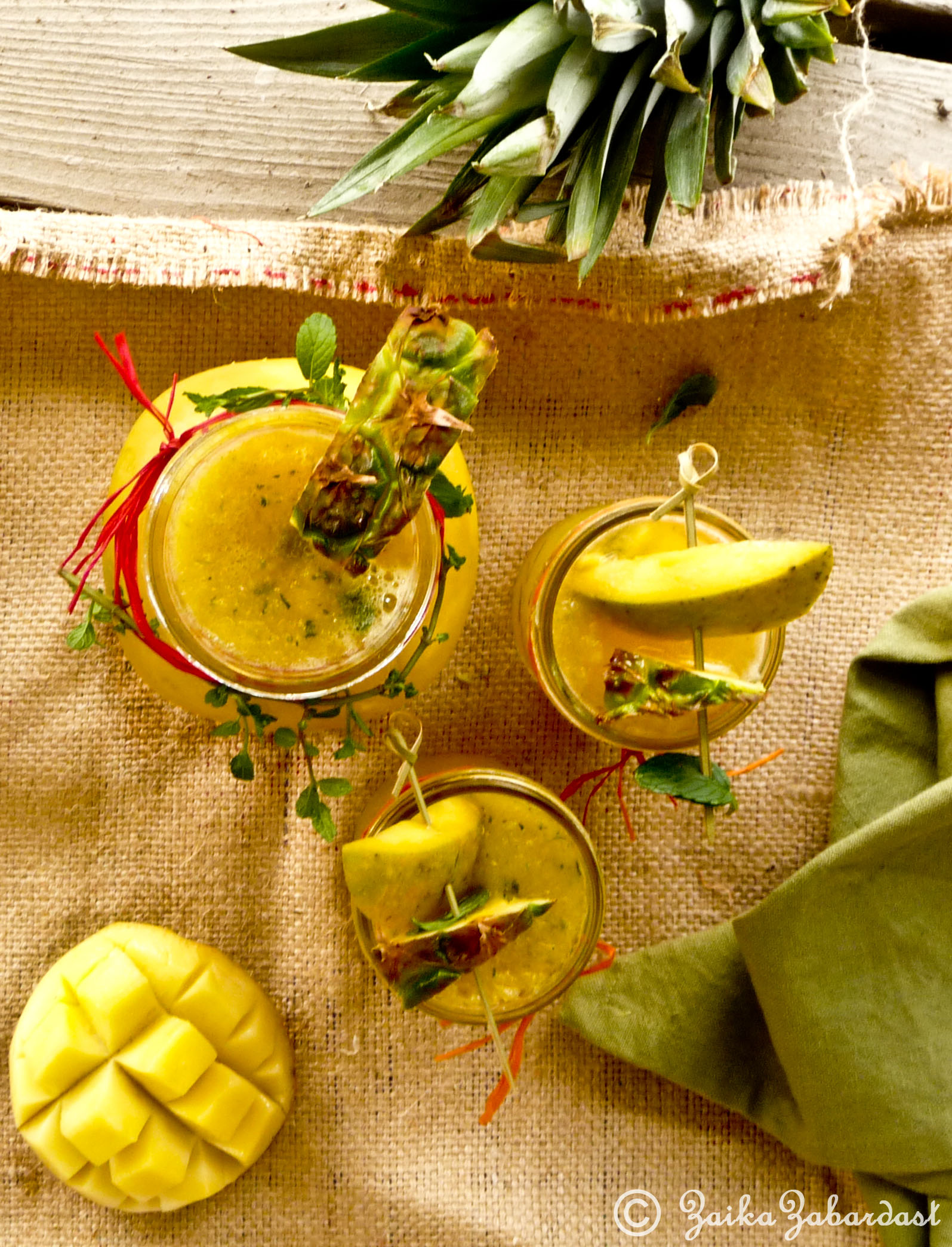 Mango-Pineapple non-alcoholic Sangria! Sensational and refreshing summer drink