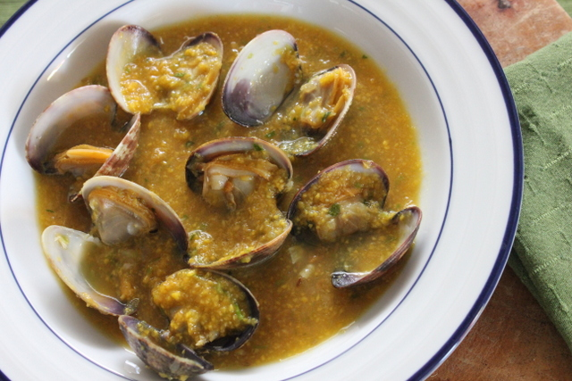 Sake Steamed Clams with Green Mango Sambal
