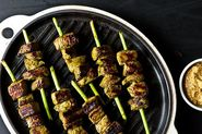 Garlic Scape Beef Satay with Garlic Scape Satay Dip