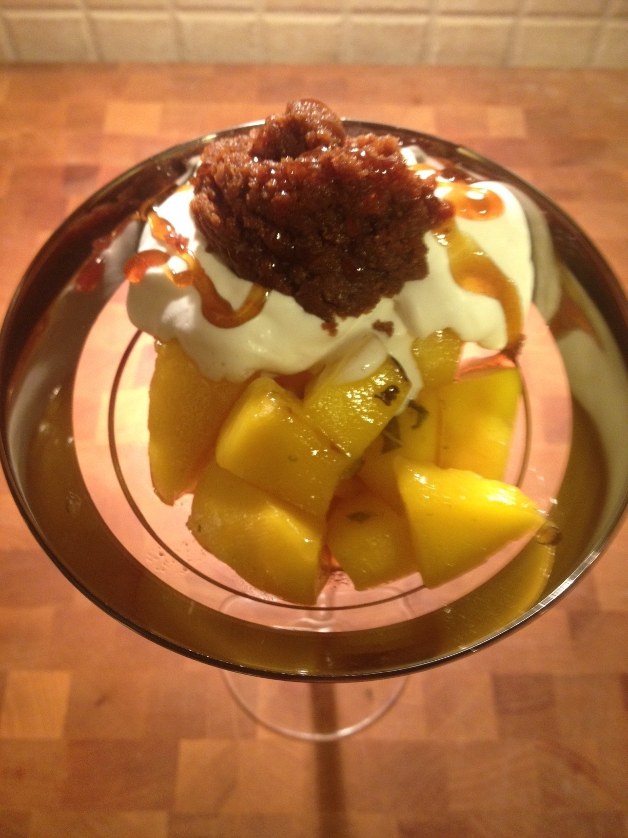 Champagne Broiled Mangoes with Cookie Butter