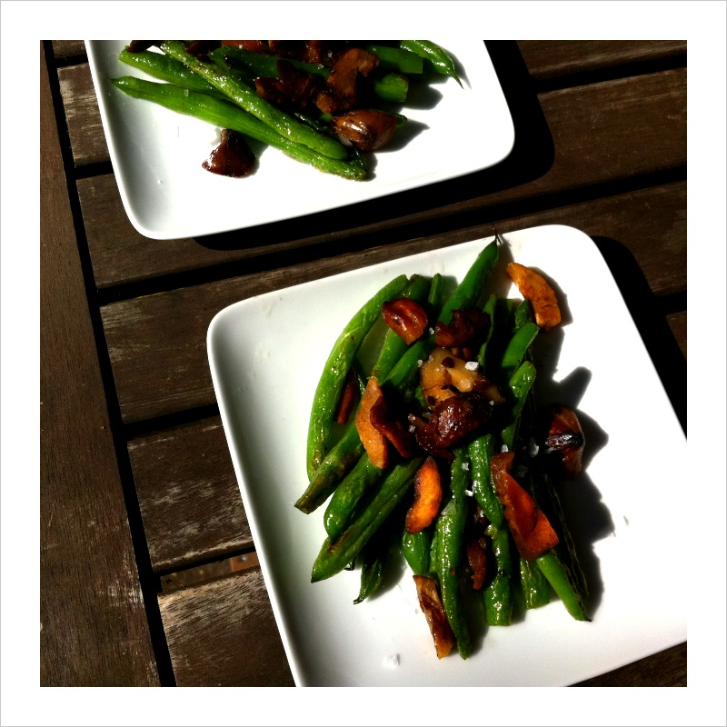 Green Beans + Chestnuts Sauteed in Duck Fat