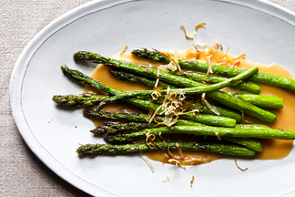 Nobu&#x27;s Fried Asparagus with Miso Dressing