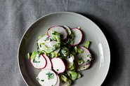 Crunchy Celery, Radish and Turnip Salad-Slaw in Blue Cheese Sauce