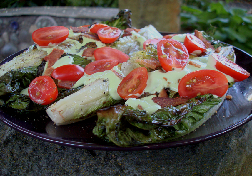 Grilled Romaine Salad with Guacamaioli