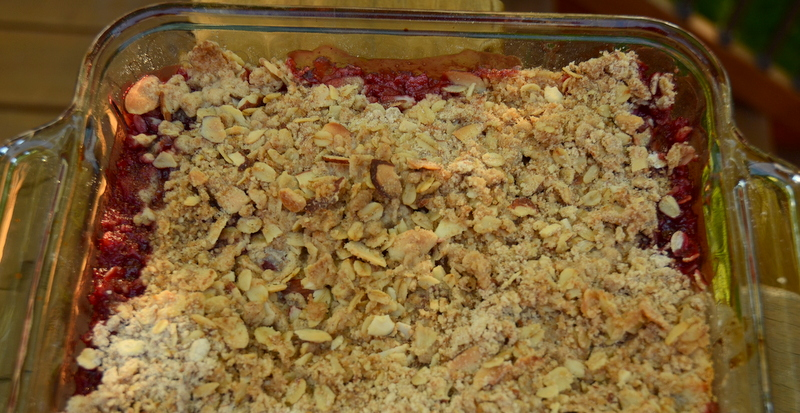 Rhubarb Cherry Hibiscus Crumble