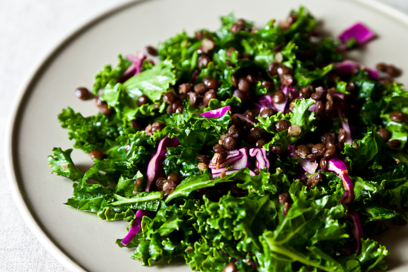Raw Kale Salad with Lentils and Sweet Apricot Vinaigrette on Food52