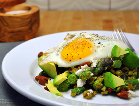 Farro with Asparagus Pesto, Avocado & Fried Egg