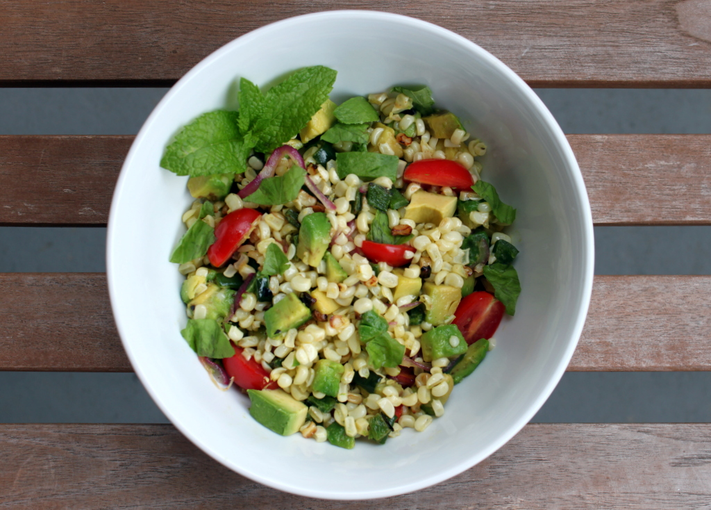 Charred Corn and Avocado Salad with Lime, Chili and Tomato