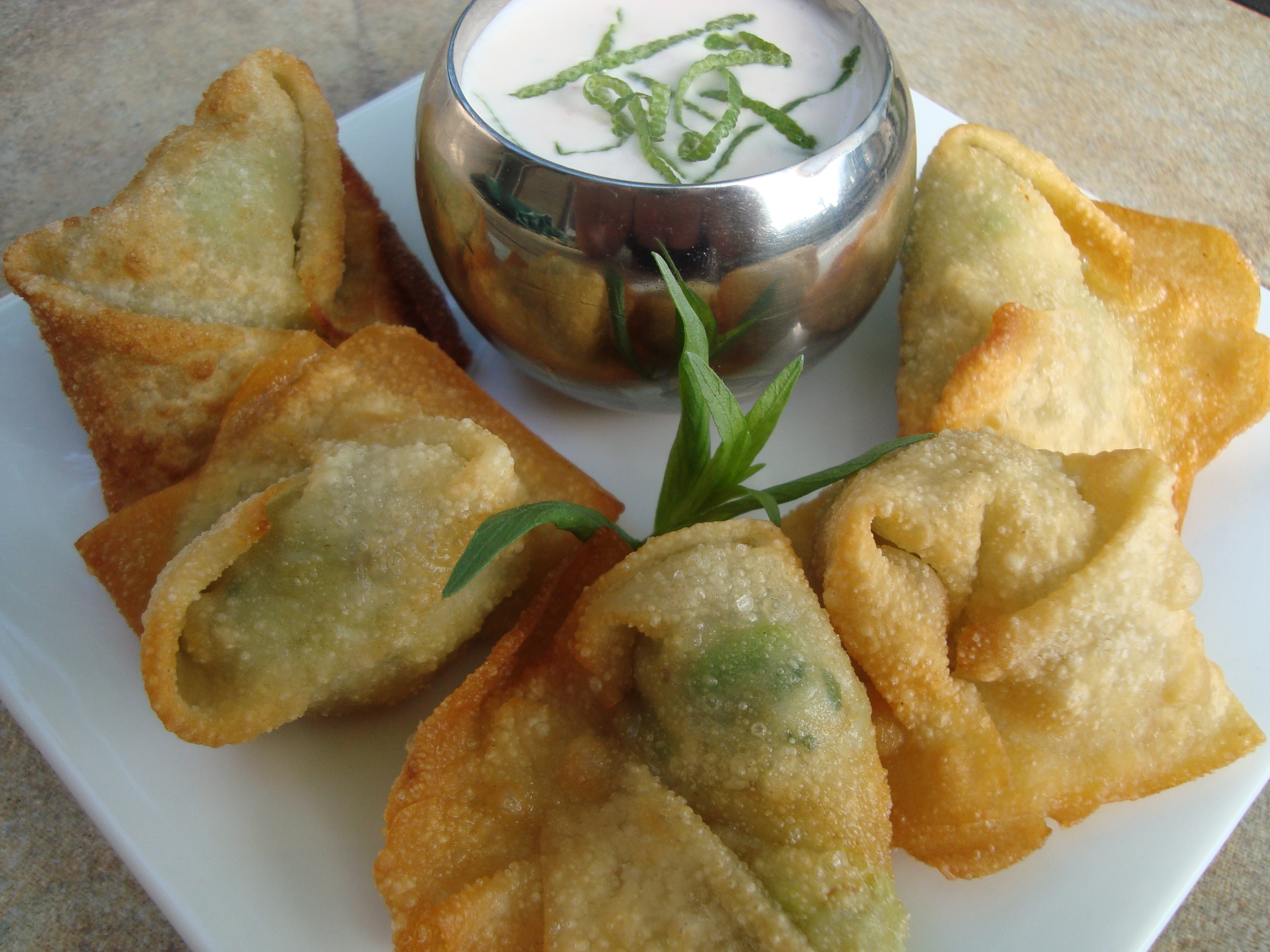 Fried Crab and Avocado Wontons