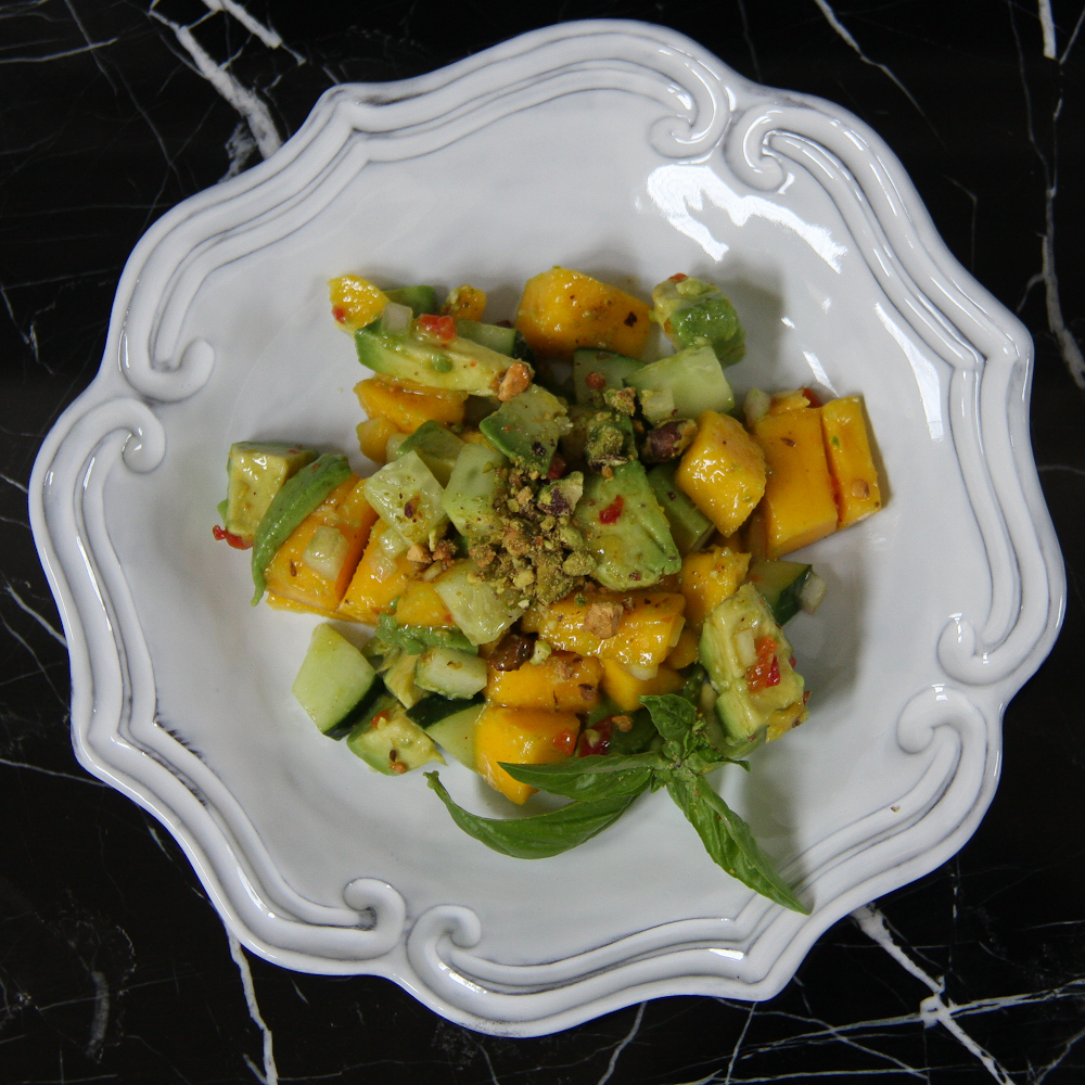 Avocado and Mango Salad with Pistachio and Curry