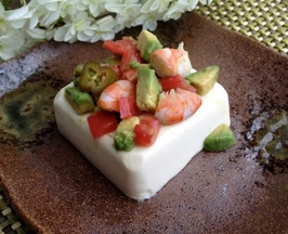 Quick Avocado Jalapeño Balsamic Shrimp on Tofu