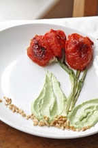 Oven Roasted Tomato Tulips with Tuna Salad and Avocado Puree
