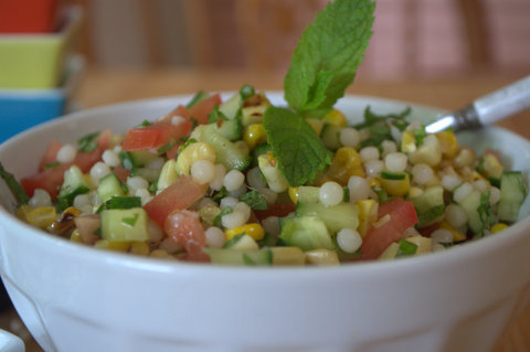 Minty  Fregola &amp; grilled corn salad
